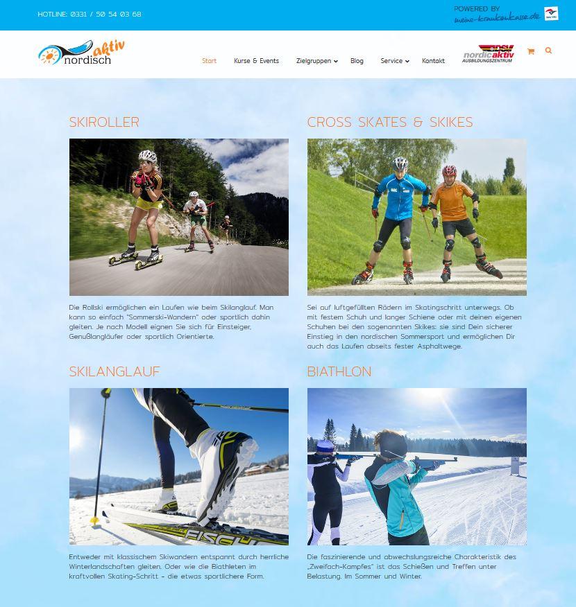 www.nordisch-aktiv.de Internetseite, Skilanglauf, skike, Cross-skating, biathlon, Skiroller